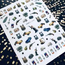 Gun Nail Art Designs Us 1 79 Hanyi Series Hanyi 175 Gun Pubg Designs Cool 3d Nail Art Stickers Decal Template Diy Nail Tool Decorations In Stickers Decals From Beauty