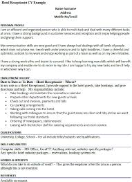 Cv Writing Examples Personal Profile Hotel Receptionist Cv Example Icover Org Uk