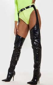 black belted thigh high point toe heeled boot image 1