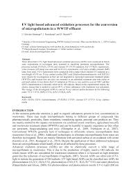 Uv Light Oxidation Pdf Uv Light Based Advanced Oxidation Processes For The