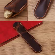 1pc antique handmade leather fountain pen bag single pen holder pencil case leather pen case com