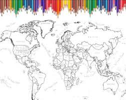 Small Picture World Map Coloring Page Labeled World Map A4 and 85x11 inch