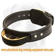 schutzhund agitation collar 2 ply leather dog collar with handle