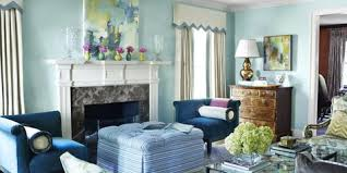 colorful living room ideas. Unique Living The Celestial Airiness Of Walls Lacquered In Benjamin Mooreu0027s Antiguan Sky  Is Grounded By A Pair In Colorful Living Room Ideas O