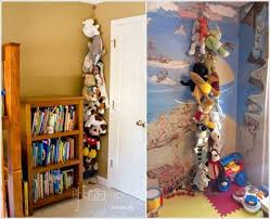 6. Hang a Rope with Clothespins for an Easy Stuffed Toy Storage
