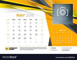 Calender Design Template May 2018 Desk Calendar Design Template With Vector Image