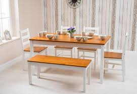Solid Pine Wood White And Honey Dining Table 4 Chairs1 Bench Set