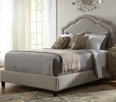 Taupe Bedroom Shaped Nailhead Fabric Upholstered Bed In Taupe By Pri Humble Abode