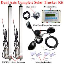 electric dual axis solar tracking system kit 2 16 linear actuator motors