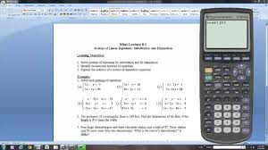 solving systems of linear equations with the ti 83 plus graphing calculator you