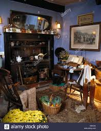 Old Fashioned Kitchen Old Victorian Range In Old Fashioned Blue Kitchen With Basket Of