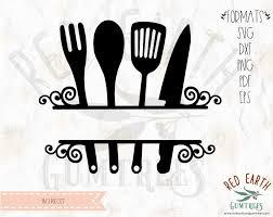 kitchen utensils split silhouette. Simple Split Kitchen Split Monogram Frame Cooking Utensil Split Wood  Sign Decal SVG EPS PDF DXF PNG Throughout Utensils Silhouette N