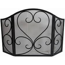 allen roth 50 23 in eggs black powder coated steel 3 panel scroll fireplace