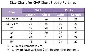 Branded Baby Kids Clothes Gap Pajamas Rm23 Size Chart