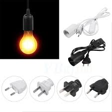 details about e27 type plug in hanging pendant light fixture lamp bulb socket cord with switch