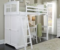 image of good white full size loft bed