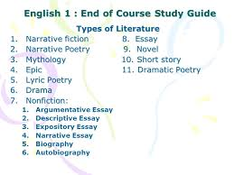 english end of course study guide ppt video online 1 english 1 end of course study guide types of literature narrative fiction essay