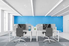 Interior Of White And Blue Open Space Office With Checkered Floor