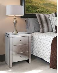 Foxhunter Mirrored Furniture Glass 3 Drawer Bedside Cabinet Table