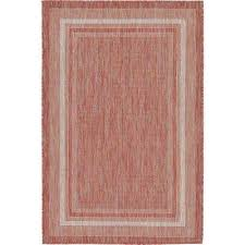 outdoor soft border rust red 4 0 x 6 0 area rug