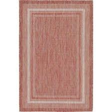 outdoor border rust red 4 x 6 rug