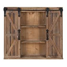 kate and laurel cates wood wall storage cabinet with two sliding barn doors rustic brown