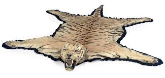 an indian taxidermy tiger skin rug mounted by van ingen