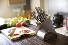 knife set in kitchen