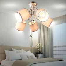 Luxus Led Decken Lampe Schlafzimmer Leuchte Geschwungen Stoff Schirm