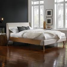fashion bed group palmer flax queen complete platform bed with upholstered exterior and light oak wooden side rails b71675 the home depot