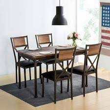 5piece retro dining set kitchen table w 4 dining chairs metal 5pc home furniture