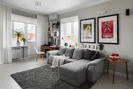 modern retro interior design ideas with neutral color schemes and grey sofa for small living room decorating ideas