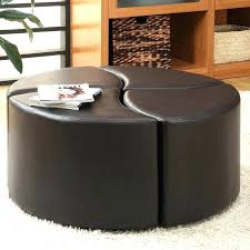 leather coffee table ottoman round leather coffee table ottoman