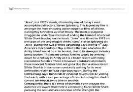 jaws essay gcse english marked by teachers com document image preview
