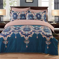 2pc fl print duvet cover set with 1 pillow shams 120 gsm ultra soft microfiber double side bedding collection us twin size dark blue 2 pieces