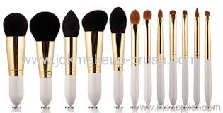 cosmetic brush set. white handle makeup brush cosmetic set