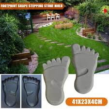 Image For Lawns Us 18 73 35 Off 2pcs Footprint Shape Stepping Stone Mold Paving Floor Mould Floor Tile Abs Floor Mould For Lawns Parks Gardens Beaches Path In