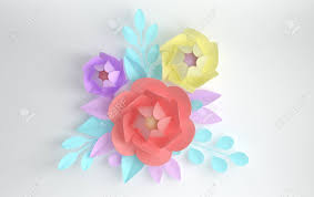 Paper Flower Branches 3d Render Paper Flowers With Branches And Leaves Digital