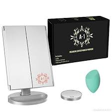 a 1 trifold makeup vanity mirror with 3x 2x magnification with 21 led lights touch screen dual power supply countertop cosmetic mirror with makeup sponge