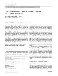 electronic gaming therapy inc  the use of electronic games in therapy a review clinical implications