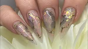 acrylic nails opal stone marbled quartz granite all in one acrylic nails