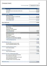Free Income Statement Template For Excel 2007 - 2016