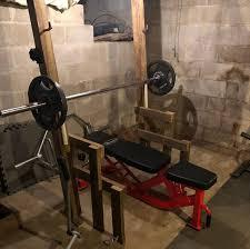 one of many diy power racks in garage gyms