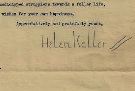helen keller collectibles  helen keller signature on personal letter 1950