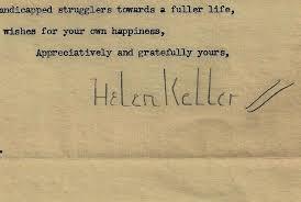 helen keller collectibles  helen keller signature on personal letter 1950