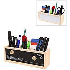 office pen holder. Wooden Desk Organizer / Pen Holder Office Supplies Caddy With Dual Chalk \u0026 Dry Erase