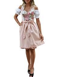 Golden Trachten Dirndl 3 Tlg Damen Midi Trachten Kleid Für Oktoberfest Rosa Grün Geblümt 514gt 38
