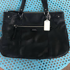 GUC Large Black COACH ZIP Top Tote Handbag