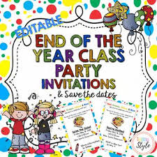 Class Party Invitation Editable Class Party Invitations And Save The Date By Teaching Ln Style