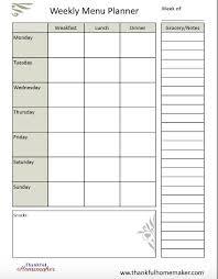 Free Weekly Menu Planning Pdf Thankful Homemaker